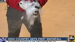 Snowy conditions in Flagstaff Monday morning - Video