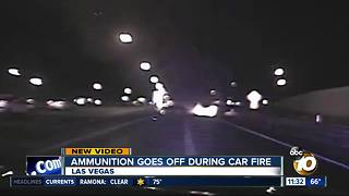 Video shows ammunition going off during car fire