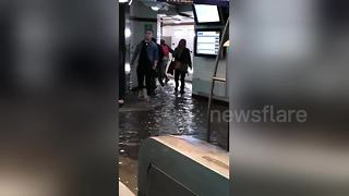 Paris metro station floods after heavy storms