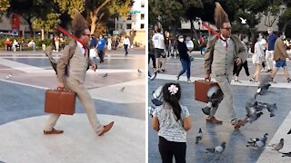 "Street performer's ""frozen in time"" stance will totally blow your mind"