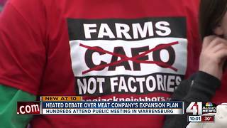 Heated debate over meat company's expansion plans - Video