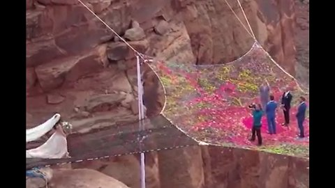 Love is in the Air: A Wedding Suspended 400 Feet Above a Canyon
