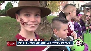Delphi veterans take children trick-or-treating in light of slain teens - Video