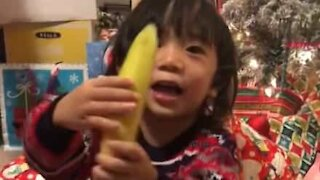 Little boy goes bananas after receiving Christmas gift!
