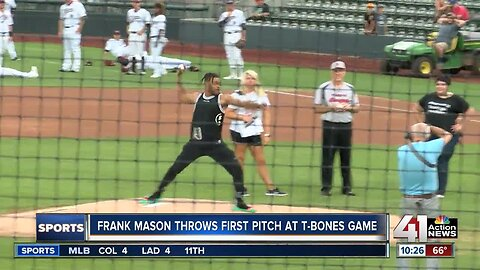 Frank Mason throws first pitch at T-Bones game