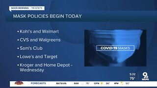 More stores to require masks starting Monday