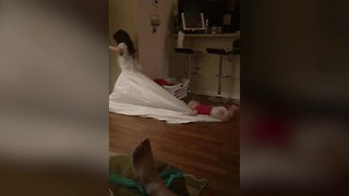 Just A Cute Little Girl Wearing Her Mom's Wedding Dress - Video