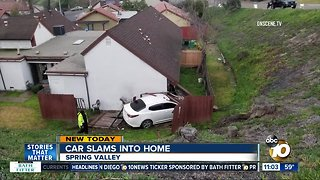 Car loses control, hits Spring Valley home