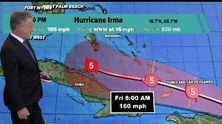 Category 5 Irma's winds still at 185 mph, track moves slightly eastward - Video