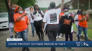 COVID Protest Outside Prison in Taft