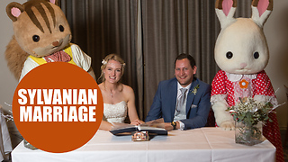 Bride celebrates wedding with six-foot replicas of retro toys from her childhood - Video
