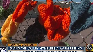 'Yarn Bomb' in central Phoenix leaves winter gear for those in need - Video