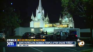 SDPD patrolling Mormon temple after online threat - Video