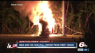 Family members save man from fiery crash in Bartholomew County - Video