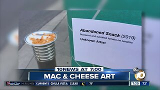 Mac & cheese turned into art on street?