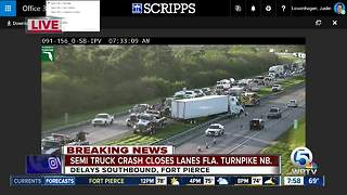 Semi truck crashes on northbound Turnpike - Video
