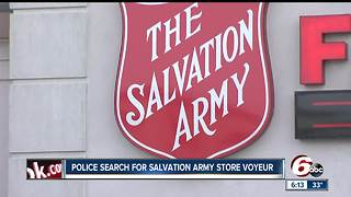 Woman claims peeping tom put camera under dressing room door at Indy Salvation Army - Video
