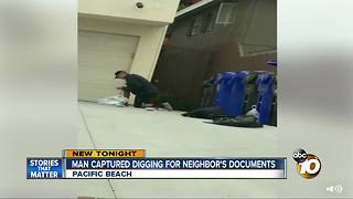Man captured digging for neighbor's documents - Video