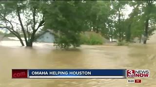 Woman collecting items to help Harvey victims