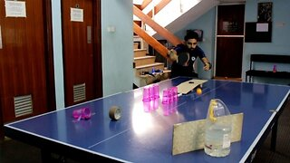 Topspin Tricks: Ping-pong Masters Perform Amazing Trick-shots