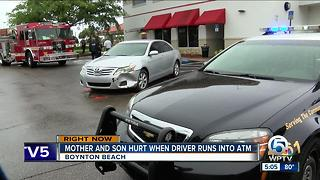 2 hurt when car hits ATM - Video