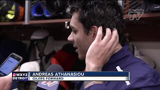 Andreas Athanasiou switched his number: Oilers mascot had No. 72