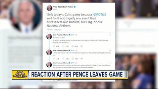 Reaction after VP Mike Pence leaves Colts vs 49ers game - Video