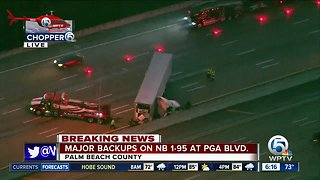 Semi crash causes heavy delays on I-95 in Palm Beach Gardens