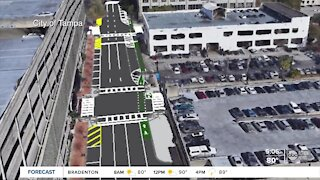 City leaders are installing a parking-protected bike lane in Downtown Tampa