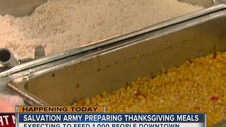 Salvation Army preparing meals for Thanksgiving - Video