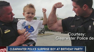 Clearwater police surprise boy at birthday party - Video