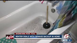 Indianapolis renter deals with sewage backup in home - Video