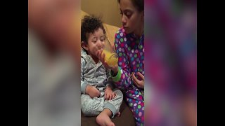 Toddler Loves to Laugh about Orange Juice - Video