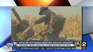 President Trump donates money to Antietam Battlefield in Maryland - Video
