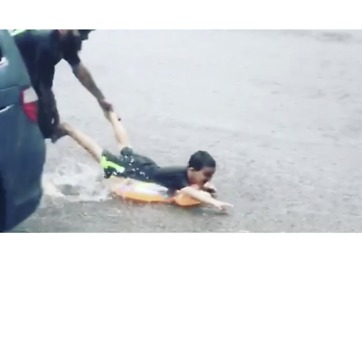 Child Makes the Most of Storm in Rhode Island