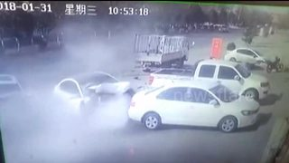 Speeding car crashes head-on into another vehicle after overtaking - Video