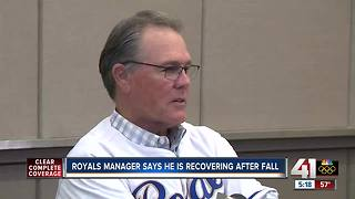 Royals manager says he's recovering after fall - Video