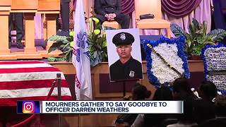 Funeral held for fallen Detroit police officer Darren Weathers - Video