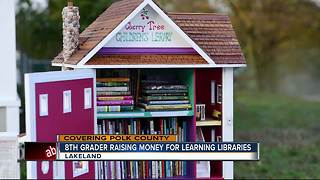 8th grader raising money for learning libraries - Video
