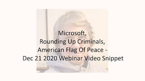 Microsoft, Rounding Up Criminals, American Flag Of Peace - Dec 21 2020 Webinar Video Snippet