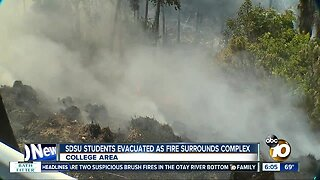 Fire forces evacuations at apartment near SDSU
