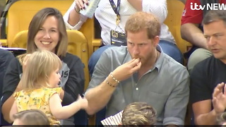 Sneaky Toddler Steals Prince Harry's Popcorn, Reaction Shows What Kind Of Father He'll Be - Video