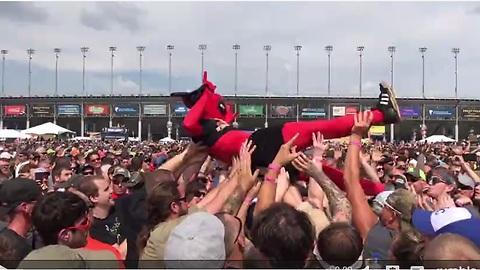 Deadpool gets dropped while crowd surfing