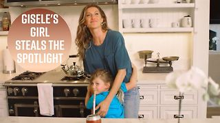 Gisele Bündchen's daughter crashes her Vogue shoot - Video