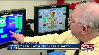 University of Tulsa simulator teaches rig and drilling safety - Video