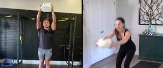 Working out at home using household items