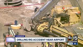 Worker unaccounted for after drilling rig falls near Phoenix Sky Harbor Airport - Video
