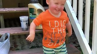 Little Boy Blown Away With Air Leaf Blower - Video