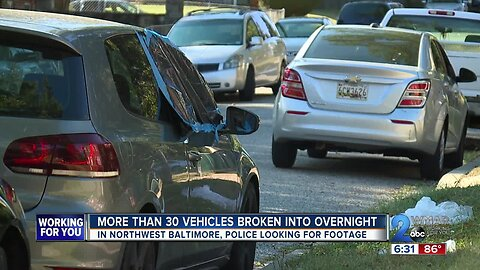 More than 30 vehicles broken into overnight in Northwest Baltimore