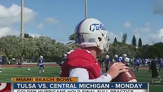 Tulsa enjoys Miami Beach, readies for Central Michigan in Bowl Game - Video